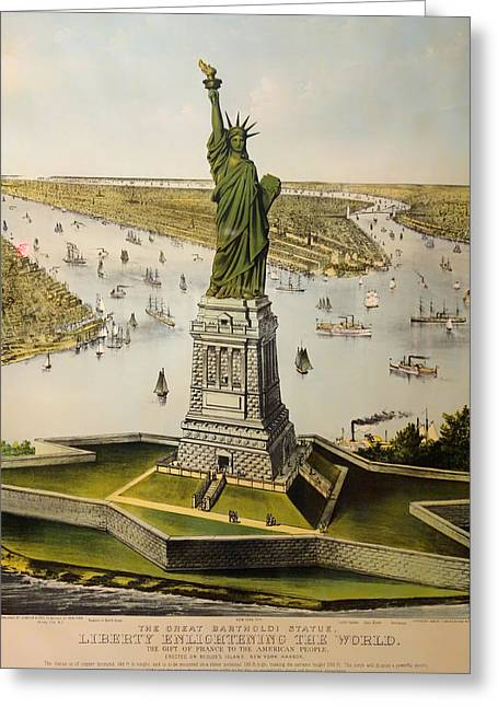 Historic Statue Drawings Greeting Cards - The Great Bartholdi Statue Greeting Card by Mountain Dreams