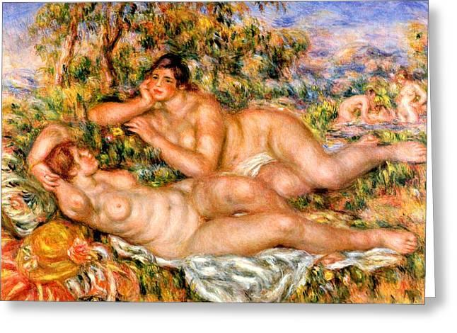 Renoir Digital Greeting Cards - The Great Bathers Greeting Card by Pierre Auguste Renoir