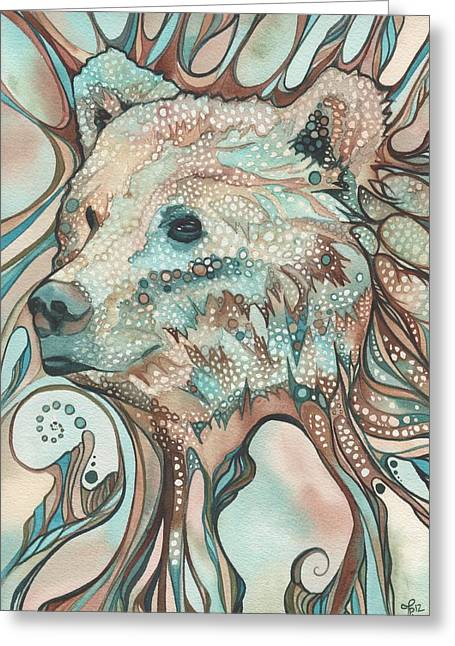 Animal Paw Print Greeting Cards - The Great Bear Spirit Greeting Card by Tamara Phillips