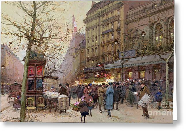 Evening Scenes Greeting Cards - The Great Boulevards Greeting Card by Eugene Galien-Laloue