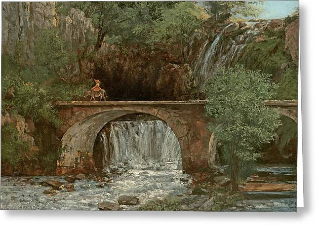 Donkey Greeting Cards - The Great Bridge, 1864 Greeting Card by Gustave Courbet