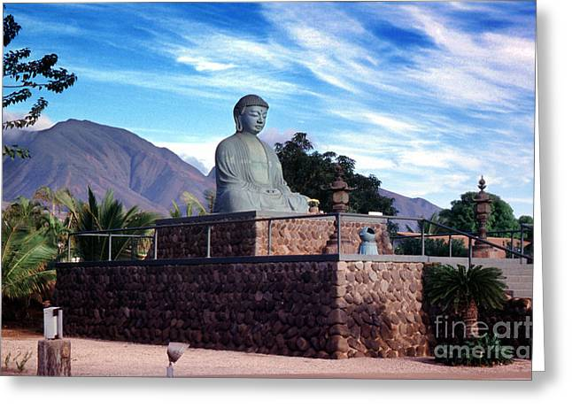 Lahaina Greeting Cards - The Great Buddha Statue in Lahaina Jodo Mission Hawaii Greeting Card by Wernher Krutein