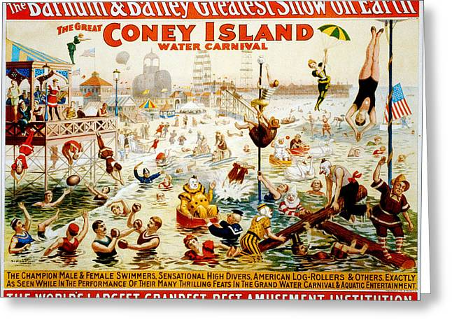 Roller Skates Digital Art Greeting Cards - The Great Coney Island Water Carnival Greeting Card by Nomad Art And  Design