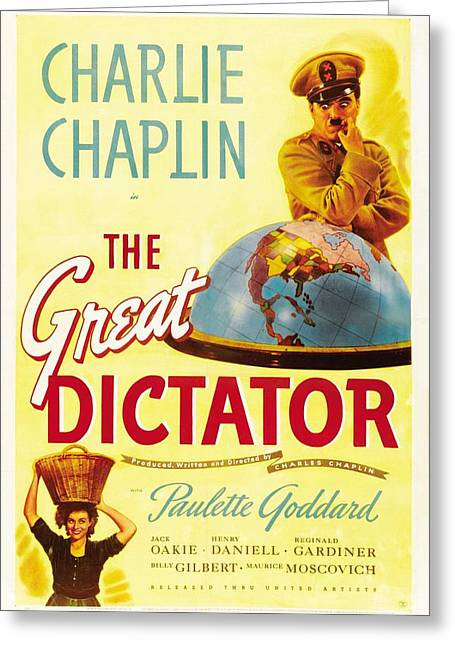 Chaplin Poster Greeting Cards - The Great Dictator - 1940 Greeting Card by Nomad Art And  Design