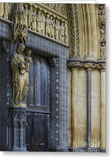 Door Sculpture Greeting Cards - The Great Door Westminster Abbey London Greeting Card by Tim Gainey