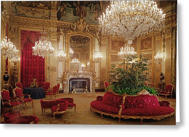 Saloons Greeting Cards - The Great Drawing Room Of The Napoleon Iii Apartments, C.1861 Colour Photo Greeting Card by .
