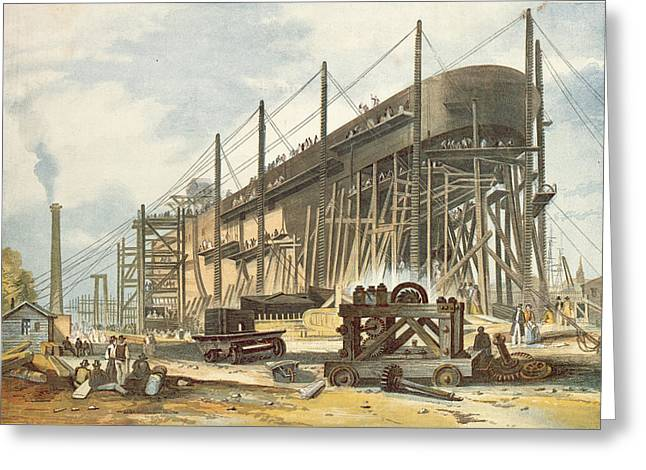 Steam Ship Greeting Cards - The Great Eastern On The Stocks Colour Engraving Greeting Card by English School