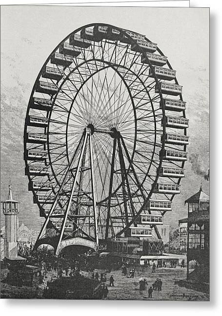 Diameter Greeting Cards - The Great Ferris Wheel In The World Columbian Exposition, 1st July 1893 Engraving Bw Photo Greeting Card by American School