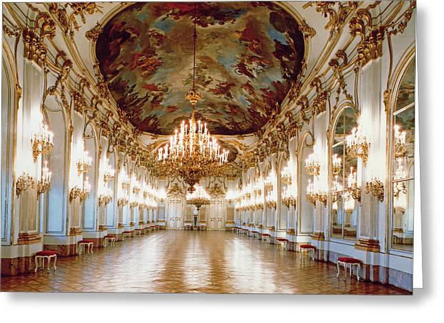 Ballroom Greeting Cards - The Great Gallery Showing The Rococo Decorative Scheme Of Gilded Ornamental Framework And White Greeting Card by .