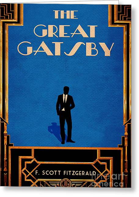 Book Jacket Greeting Cards - The Great Gatsby Book Cover Movie Poster Art 1 Greeting Card by Nishanth Gopinathan