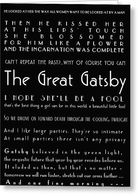 Texting Photographs Greeting Cards - The Great Gatsby Quotes Greeting Card by Nomad Art And  Design