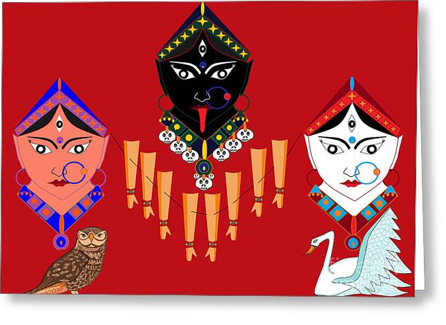 Hindu Goddess Digital Greeting Cards - The Great Goddesses Greeting Card by Pratyasha Nithin