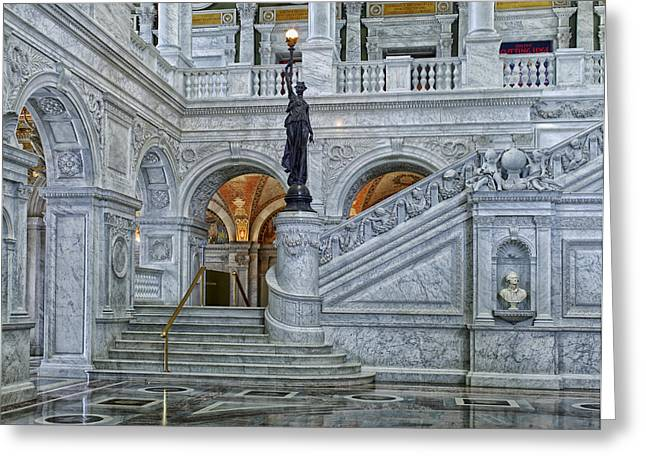 Jefferson Greeting Cards - The Great Hall - Library of Congress Greeting Card by Mountain Dreams