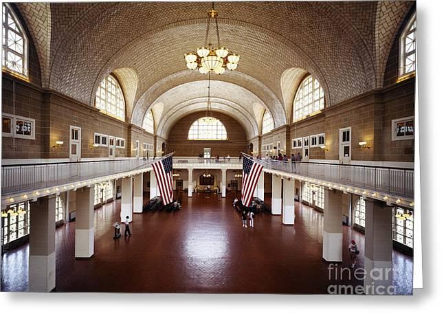 Reception Greeting Cards - The Great Hall On Ellis Island Greeting Card by Rafael Macia
