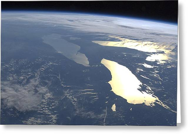 Finger Lakes Greeting Cards - The Great Lakes, ISS image Greeting Card by Science Photo Library