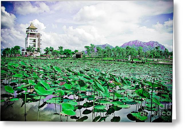 The great lotus flower pond Greeting Card by Jeng Suntorn niamwhan