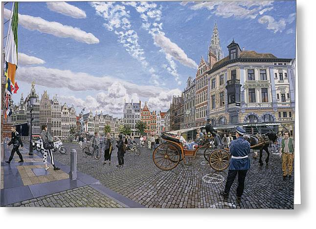 Police Station Greeting Cards - The Great Market Square In Antwerp, 1996 Oil On Board Greeting Card by Huw S. Parsons