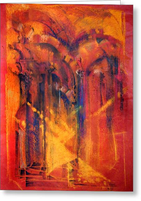 Sun Rays Pastels Greeting Cards - THE GREAT MOSQUE OF CORDOBA   Directing to the Mind of God  Greeting Card by Josie Taglienti