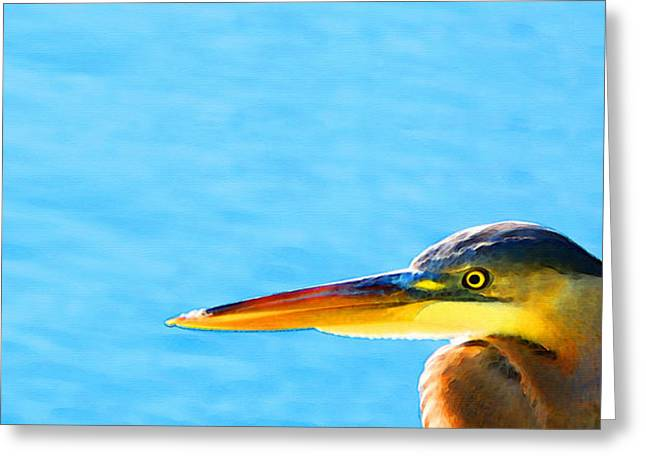 Egret Greeting Cards - The Great One - Blue Heron By Sharon Cummings Greeting Card by Sharon Cummings