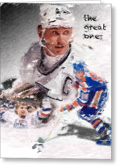 Wayne Gretzky Greeting Cards - The Great One Greeting Card by Brian Menasco