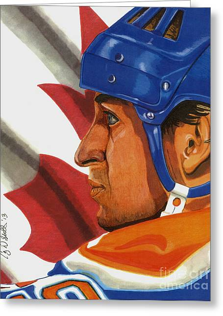 Wayne Gretzky Greeting Cards - The Great One Greeting Card by Cory Still
