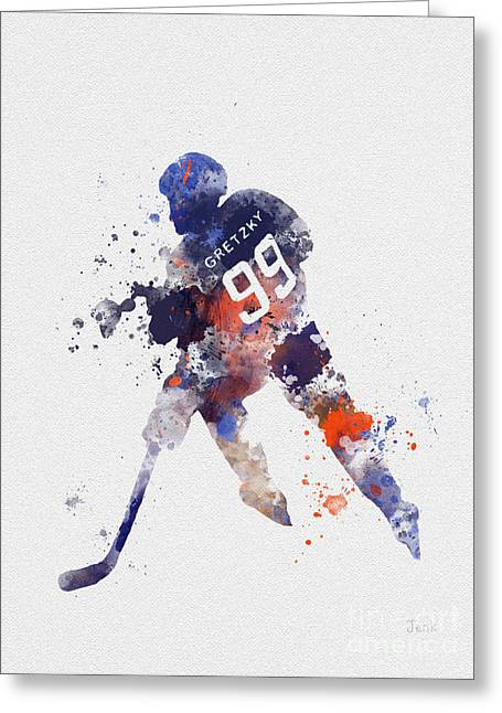 Art Of Hockey Greeting Cards - The Great One Greeting Card by Rebecca Jenkins