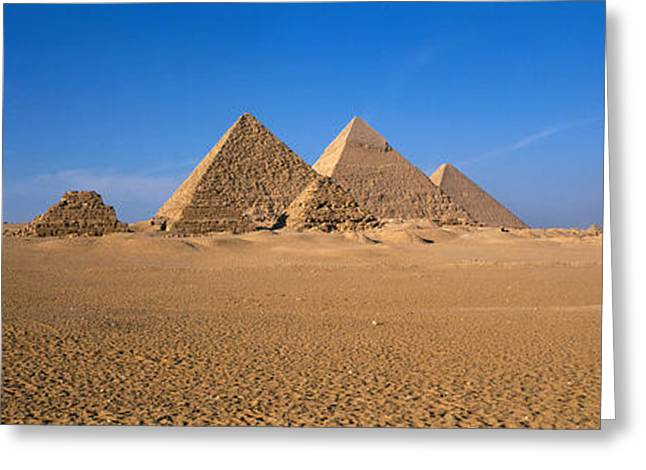 Pharaoh Photographs Greeting Cards - The Great Pyramids Giza Egypt Greeting Card by Panoramic Images