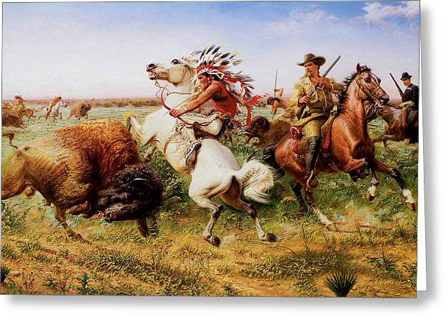 The American Buffalo Paintings Greeting Cards - The Great Royal Buffalo Hunt Greeting Card by Louis Maurer