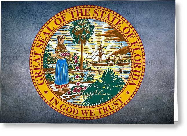 Florida House Greeting Cards - The Great Seal of the State of Florida Greeting Card by Movie Poster Prints