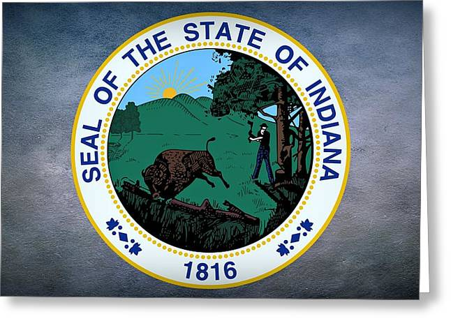 The Great Seal Of The State Of Indiana  Greeting Card by Movie Poster Prints