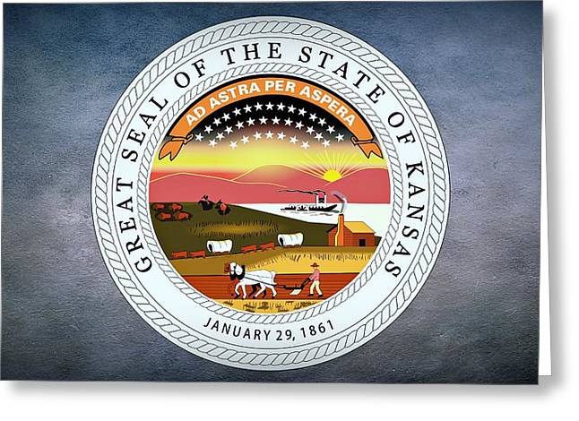 Hunting Cabin Digital Art Greeting Cards - The Great Seal of the State of Kansas  Greeting Card by Movie Poster Prints