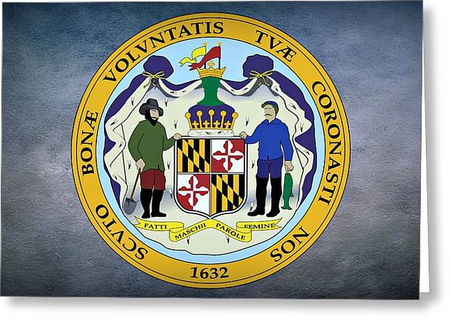 Maryland Flag Greeting Cards - The Great Seal of the State of Maryland  Greeting Card by Movie Poster Prints