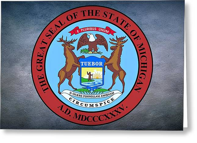 The Great Seal Of The State Of Michigan  Greeting Card by Movie Poster Prints
