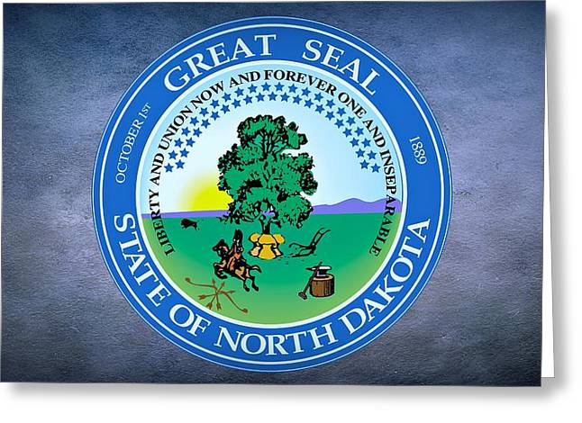 Sledge Greeting Cards - The Great Seal of the State of North Dakota Greeting Card by Movie Poster Prints
