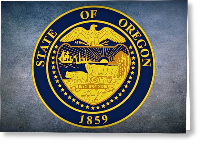 Husband Waiting Greeting Cards - The Great Seal of the State of Oregon  Greeting Card by Movie Poster Prints