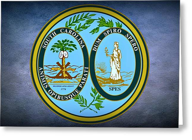 Palmetto Trees Greeting Cards - The Great Seal of the State of South Carolina Greeting Card by Movie Poster Prints