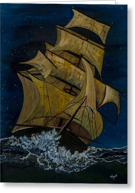 Sailing At Night Greeting Cards - The Great Ship Greeting Card by BJ Hilton Hitchcock