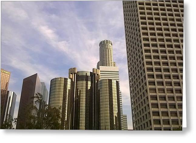 Down Town Los Angeles Greeting Cards - The Great shot of Los Angeles USA Greeting Card by Nerses Hatsakorzian