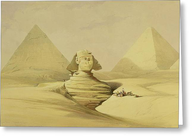 Architectural Elements Greeting Cards - The Great Sphinx and the Pyramids of Giza Greeting Card by David Roberts