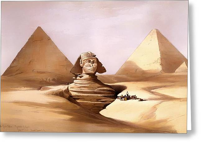 Pharaoh Greeting Cards - The Great Sphinx Greeting Card by David Roberts