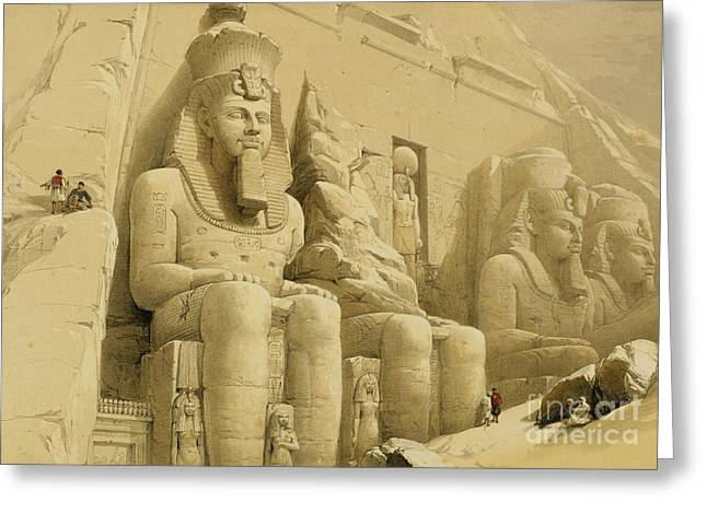 Colossal Greeting Cards - The Great Temple of Abu Simbel Greeting Card by David Roberts