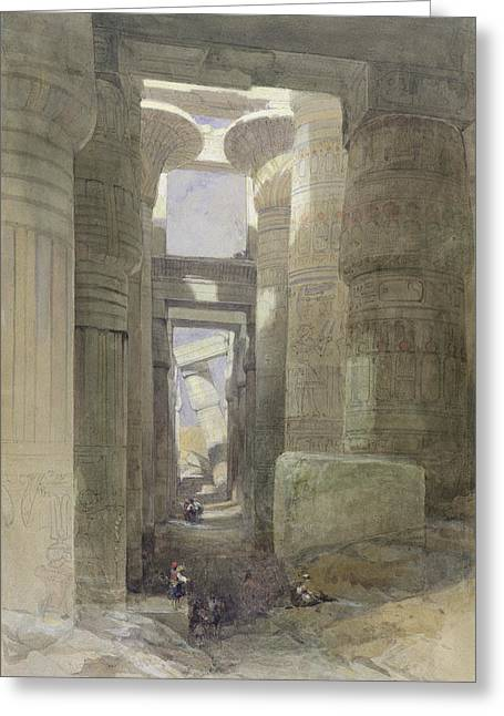 Egyptian Photographs Greeting Cards - The Great Temple Of Amon Karnak, The Hypostyle Hall, 1838 Wc & Gouache Over Graphite On Paper Greeting Card by David Roberts