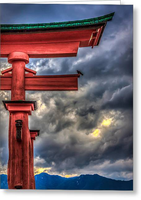 Floating Torii Greeting Cards - The Great Torii Greeting Card by Gary Fossaceca