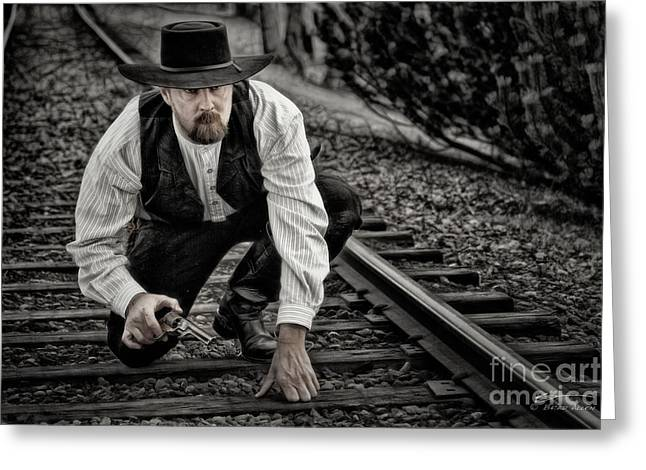 Cowboy Art Collector Greeting Cards - The Great Train Robber Greeting Card by Brad Allen Fine Art
