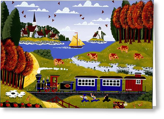 New England Lighthouse Paintings Greeting Cards - The Great Train Robbery Greeting Card by Merry  Kohn Buvia