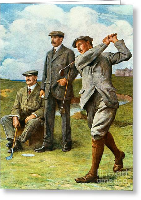 Golf Hole Greeting Cards - The Great Triumvirate Greeting Card by Clement Flower