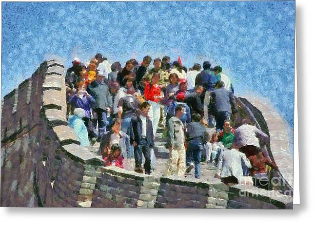 Fortress Greeting Cards - The Great Wall in China Greeting Card by George Atsametakis