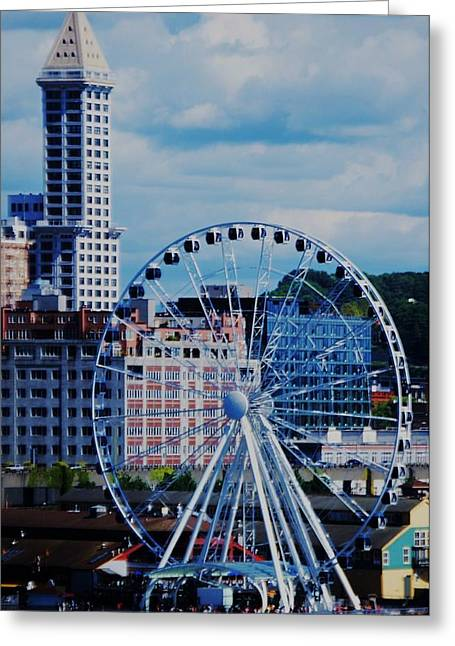 Seattle Waterfront Framed Prints Greeting Cards - The Great Wheel Of Seattle Greeting Card by Marcus Dagan