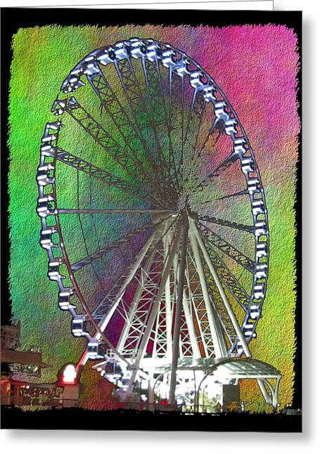 Jagged Border Greeting Cards - The Great Wheel Greeting Card by Tim Allen
