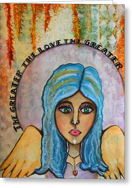 Sorrow Mixed Media Greeting Cards - The Greater the Love Greeting Card by Lindy Powell